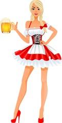 Девушка в костюме с кружкой пива