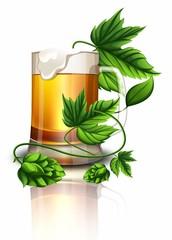 Кружка Пенного пива с плодами хмеля