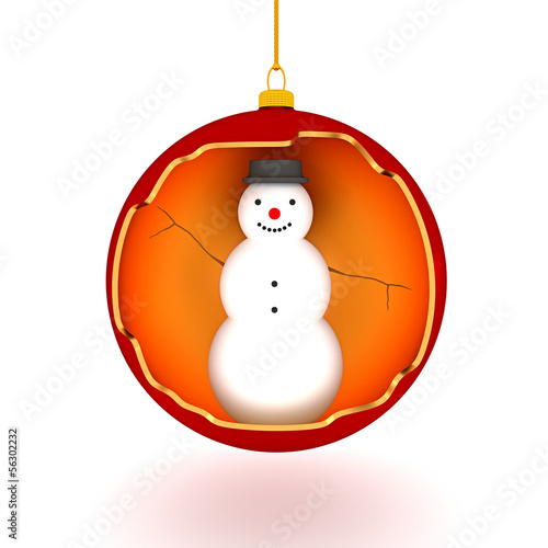 snowman in the christmas tree ball