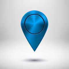 Technology Map Pointer Button with Blue Metal Texture