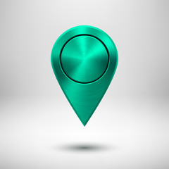Technology Map Pointer Button with Green Metal Texture