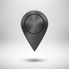 Technology Map Pointer Button with Black Metal Texture