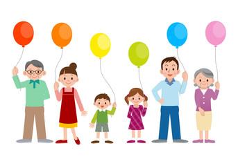 大家族と風船