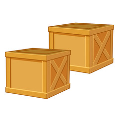 wood box isolated illustration