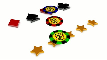 Golden word POKER , card sign, chips and stars motion