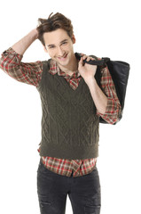 young Casual man with bag posing in the studio