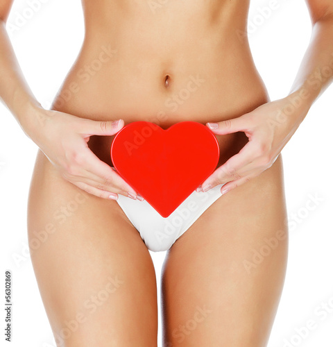 Woman with a red heart, white background