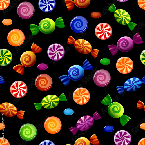 Seamless pattern with colorful sweets on black background