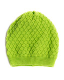 Green warm hat with surround pattern