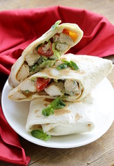burrito (doner) with chicken wrapped in pita bread