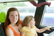 Mother and child in bus