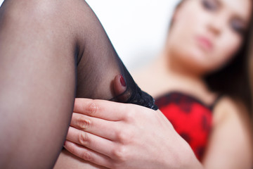 Caucasian brunette woman with stockings