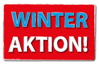 Winter Aktion Angebot Scild Button