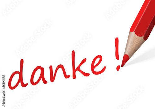 "Stift mit Text "" danke! """
