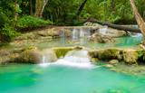 Blue stream waterfall in Kanjanaburi Thailand (Erawan waterfall
