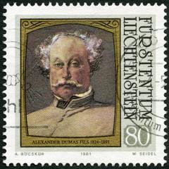 LIECHTENSTEIN - 1981: shows portraits of Alexander Dumas (fils)