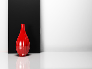 a red vase in the  room