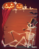 Creepy skeleton. Halloween background.