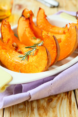 roasted pumpkin in baking dish