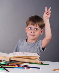 enthusiastic schoolboy raising his hand