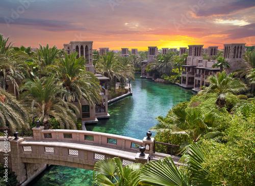 Plexiglas Dubai Dubai al tramonto