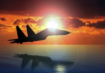 Military Aircraft Flying on Bright Sun
