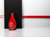 a red vase in the empty room