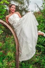 Schöne Braut in ihrem Hochzeitskleid