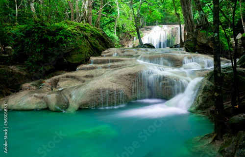 Waterfall in tropical forest at Erawan national park Kanchanabur - 56305833