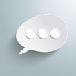 White Bevel Speech Bubble Three Circles PiAd
