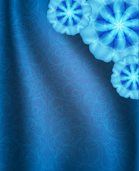 Blue background with ornament, imitation silk with pleats