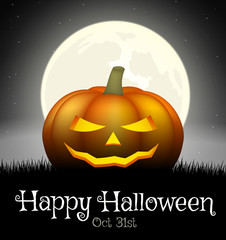 Halloween pumpkin on grass with moon