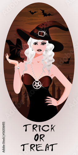 Trick or Treat Halloween card Blonde witch and bat, vector