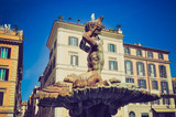 Triton Fountain, Rome retro look