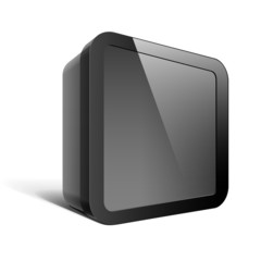 Realistic Black Package Box. Square shape