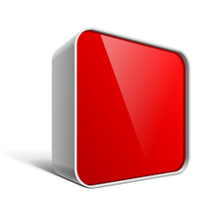 Shiny gloss red vector banner square box