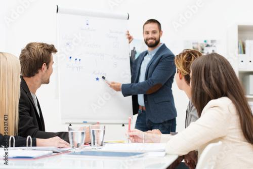 ein junges team entwickelt ideen am flipchart