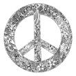 Black and white PEACE symbol