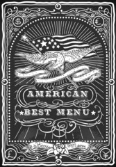 Vintage Graphic Blackboard for American Menu