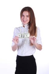 Rich businesswoman. Money. 100 dollars.