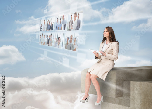 Businesswoman using futuristic interface