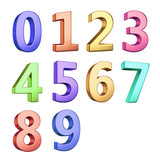 3D digits isolated with clipping path on white