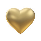 Fototapety Golden heart on white with clipping path