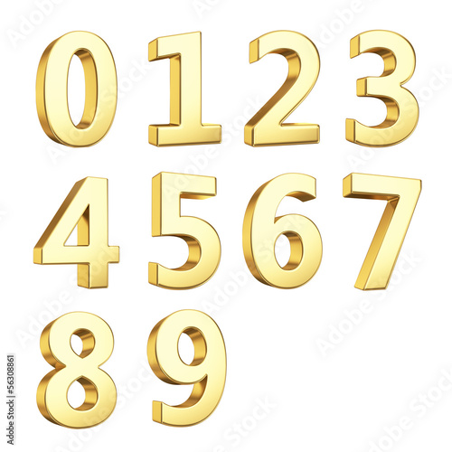 3D numbers isolated with clipping path on white