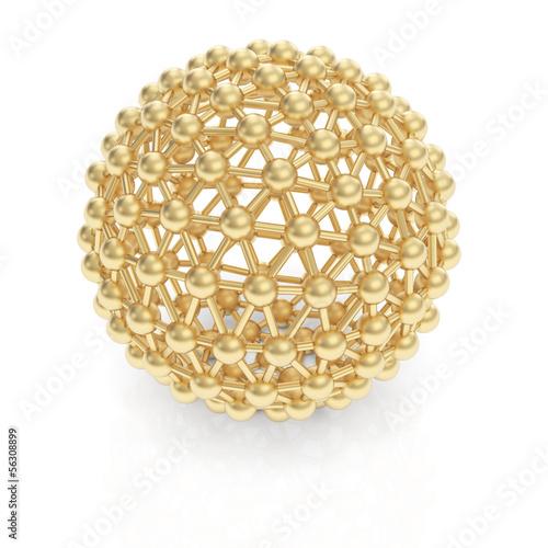 Golden molecule sphere structure © 123dartist
