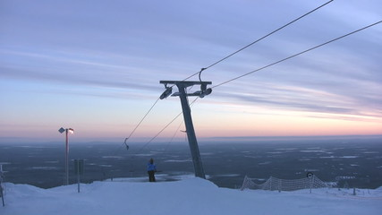 Top of skilift with halyards