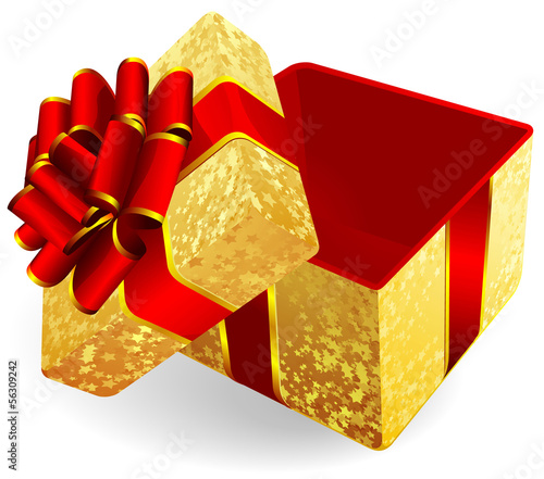 Golden gift box. Vector.