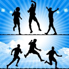 soccer players celebrate