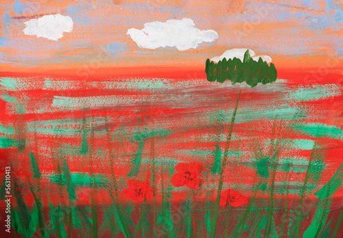 child's picture of summer poppy field