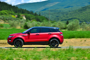 Modern suv on tuscany way